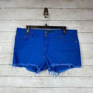 Levi's Blue Denim Distressed Hem Shorts